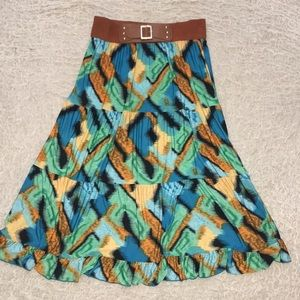 Dresses & Skirts - Patterned Maxi Skirt with Built in Waist Buckle